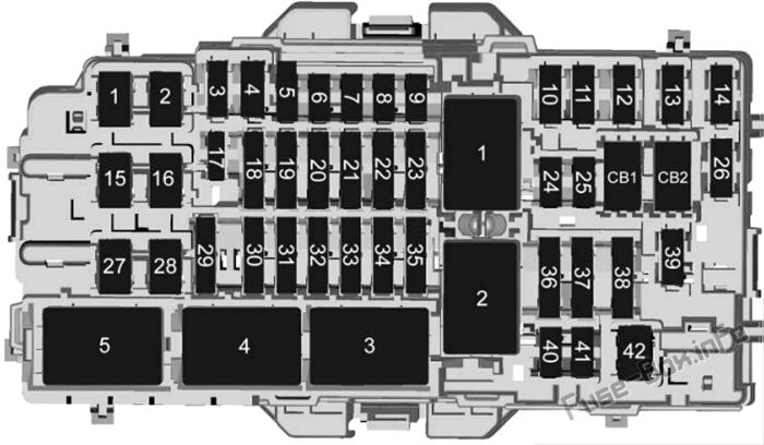 Instrument panel fuse box diagram: Cadillac CT4 (2020, 2021)