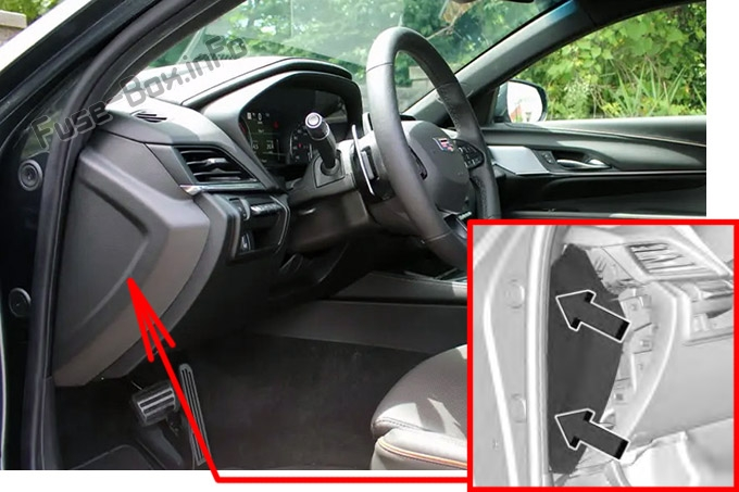 The location of the fuses in the passenger compartment: Cadillac CT4 (2020, 2021)