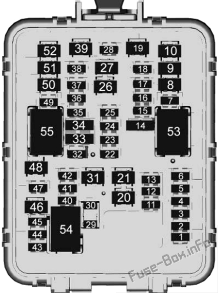 Trunk fuse box diagram: Cadillac CT4 (2020, 2021)