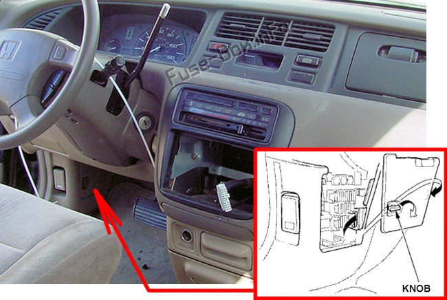 The location of the fuses in the passenger compartment: Honda Odyssey (1994-1998)